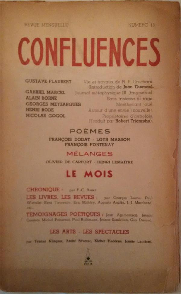 Revue Confluences n°16 Couverture